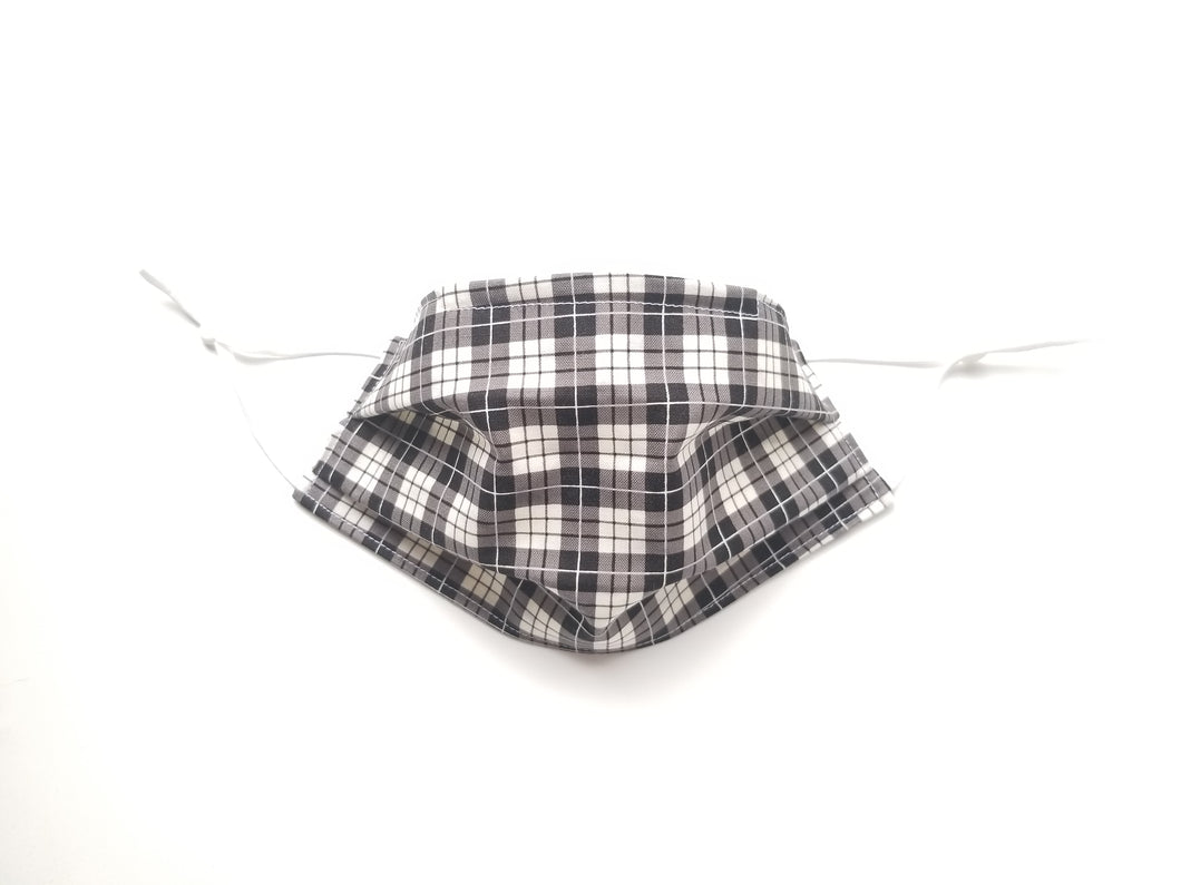White and Black Plaid Reusable Cotton Face Covering. [With Nose Tab│Standard Size]