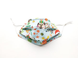 Bah Hum Pug Reusable Cotton Face Covering. [ With Nose Tab│Standard Size]