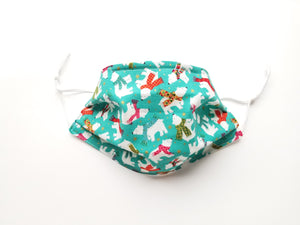 Polar Bears Reusable Cotton Face Covering. [3-Layer │ Nose Tab│Standard Size]