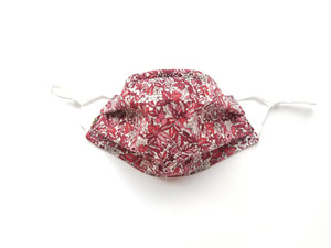 Hyde Florals (Liberty of London) Reusable Cotton Face Covering. [ Flannel Backside | 3-Layer │ Nose Tab│Adjustable Elastic ]