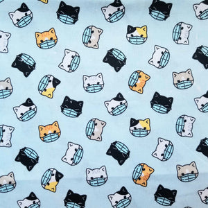 KIDS Kitties Wearing PPE Reusable Cotton Face Covering [ 3-Layer | Nose Tab | Adjustable Elastics ]