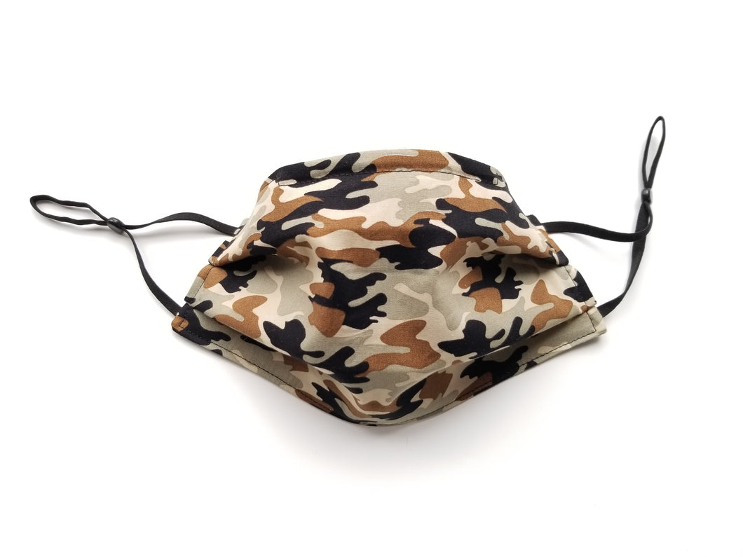 Camo Reusable Cotton Face Covering. [ 3-Layer │ Nose Tab│Adjustable Elastic ]