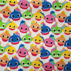 KIDS Baby Shark Reusable Cotton Face Covering [ 3-Layer | Nose Tab | Adjustable Elastics ]