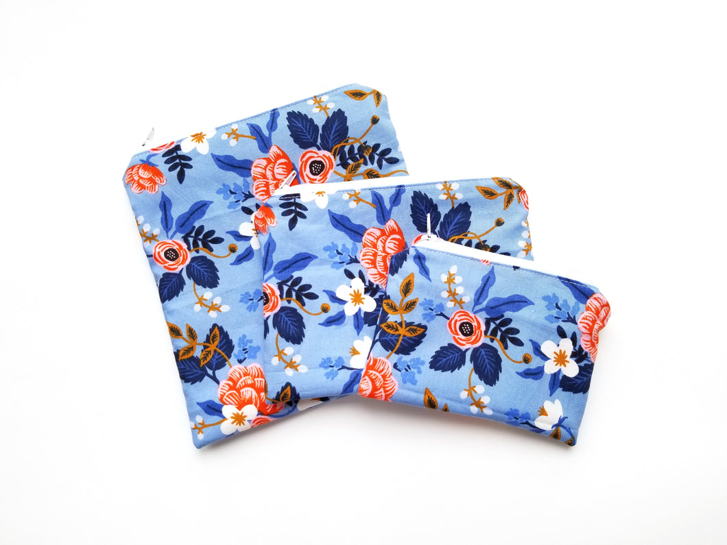 Birch Floral in Periwinkle [Rifle Paper Co] Reusable Food Safe Pouch
