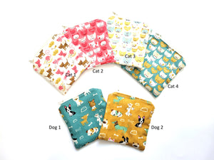 Cats and Dogs Square Size Reusable Food Safe Pouch