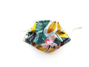 Tropical Oasis Reusable Cotton Face Covering. [ 3-Layer │ Nose Tab│Adjustable Elastic ]