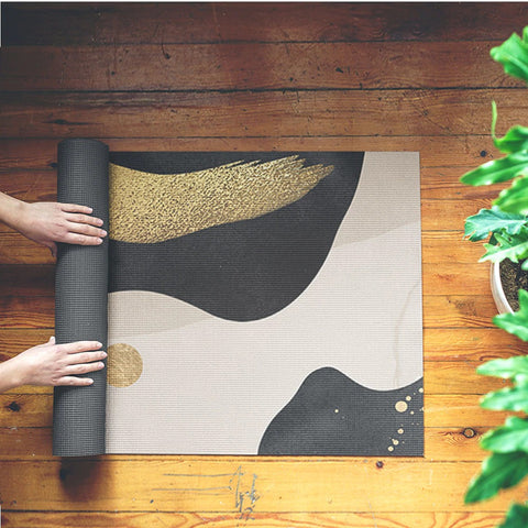 1.5mm Fluid Art Suede Natural Rubber Yoga Mat Pad Non-slip Slimming Exercise Fitness Gymnastics Mat Body Building Pilates Tapete