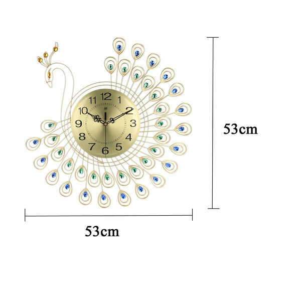 3D Gold Modern Wall Clock Peacock