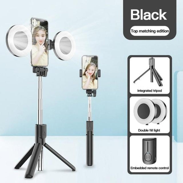 Wireless Selfie Stick With LED Ring Light 4 in 1
