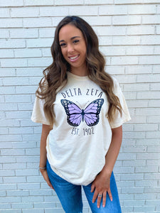 Purple Butterfly Sorority Tee
