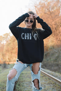 Black Cheetah Letters Sorority Sweatshirt