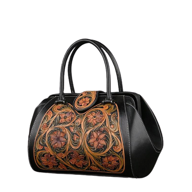 Leather Art Collection - Swing Lock Luxury Bag