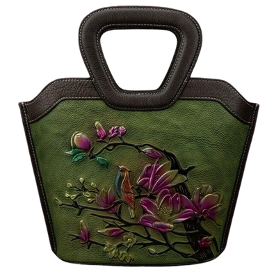 Leather Art Collection- Bird and Flower Tote