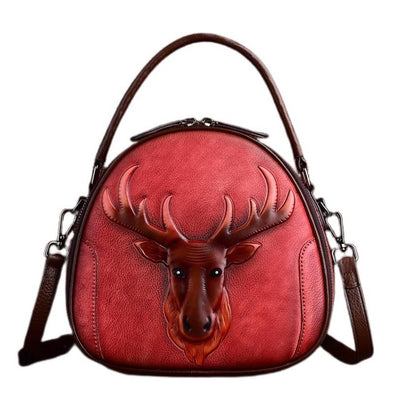 Leather Art Collection - Embossed Reindeer Leather Handbag