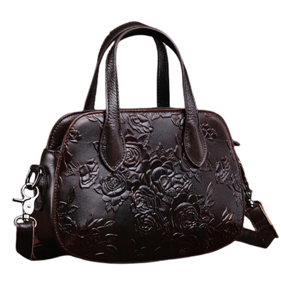 Leather Art Collection - Small Embossed Flower Tote