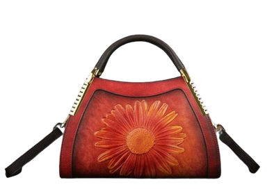 Leather Art Collection - Embossed Sun Flower Luxury Bag