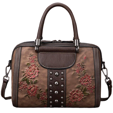 Leather Art Collection - Embossed Pink Rose Handbag