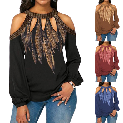 Panthera Sexy Long Sleeve Cold Shoulder Top