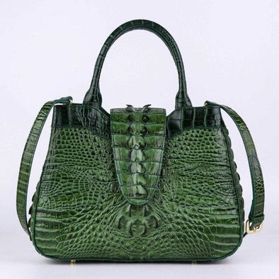 Leather Art Collection - Crocodile Tail Pattern Tote Handbag