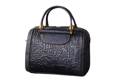 Leather Art Collection - Embossed Native Design Leather Handbag