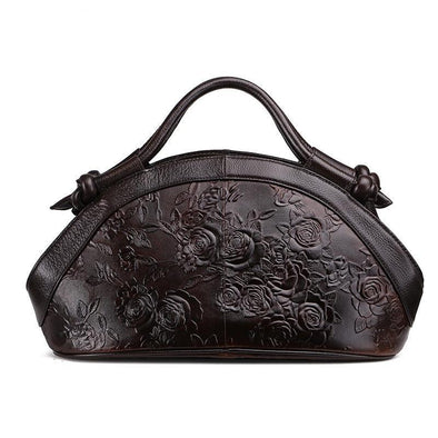 Leather Art Collection - Embossed Flower Boat Bag