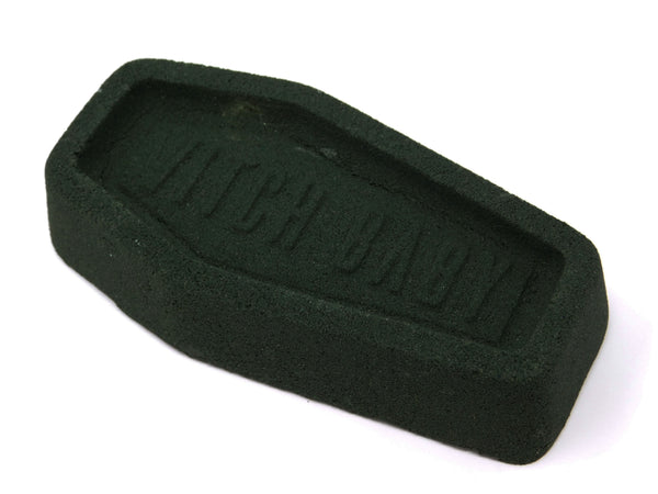 Side view of Black Mass Bath Bomb - photo of a black coffin bath bomb