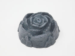 Rose shaped moisturizing shea face soap made with charcoal and lavender essential oil.