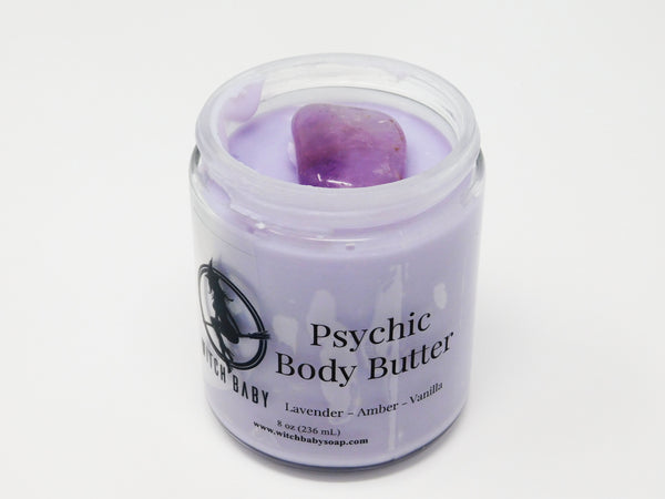 Purple body butter topped with Amethyst. Crystal body butter that smells like lavender and amber and helps with psychic work.