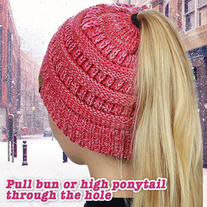 Pony Tail Knitted Beanie