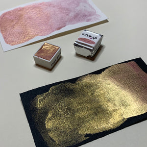 #12 Rose Gold - Handmade Metallic Watercolour Paint - Half Pan