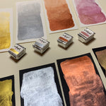 Load image into Gallery viewer, Vibrant Metals - Set of 4 Handmade Metallic Watercolour Paint - Four Half Pans