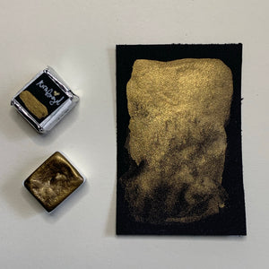 #02 Griffon Gold - Handmade Metallic Watercolour Paint - Half Pan