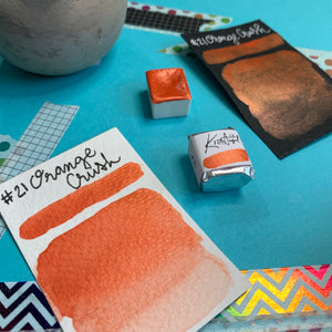 #21 Orange Crush - Handmade Metallic Glitter Watercolour Paint - Half Pan