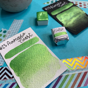 #23 Avocado Toast - Handmade Metallic Glitter Watercolour Paint - Half Pan