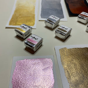 Dreamy Metallics - Set of 8 Handmade Metallic Watercolour Paint - Eight Half Pans