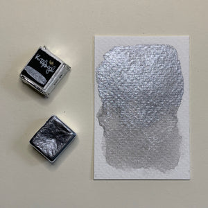 #04 Suddenly Silver - Handmade Metallic Watercolour Paint - Half Pan