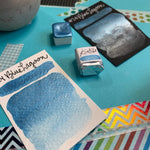 Load image into Gallery viewer, #24 Blue Lagoon - Handmade Metallic Glitter Watercolour Paint - Half Pan