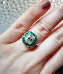 Old cut diamond and emerald ring