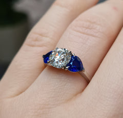 Old cut diamond and sapphire ring