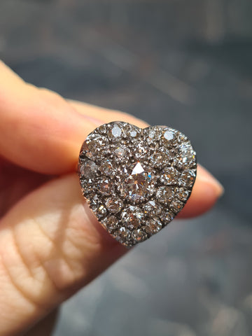 Pave set diamond heart ring