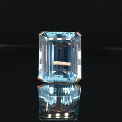 35.50ct Emerald Cut Aquamarine Cocktail Ring in 14ct Yellow Gold
