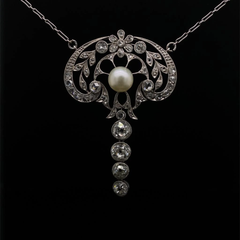 Belle Epoque Pearl and Diamond Necklace