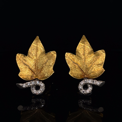 Vintage Cartier 14ct yellow gold and diamond leaf earrings
