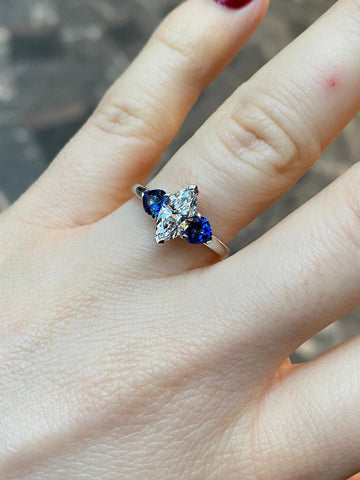 Marquise cut diamond and sapphire ring