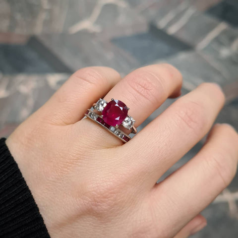 Cushion cut ruby and diamond ring