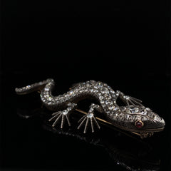Victorian silver and 9ct gold diamond lizard brooch