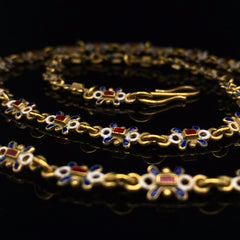Victorian yellow gold and enamel chain necklace