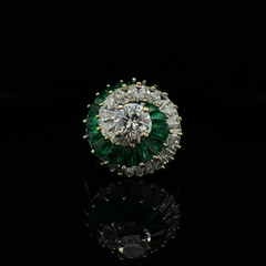 Vintage 1960's Emerald and Diamond Cocktail Ring