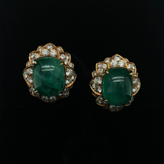 Vintage Cabochon Emerald and Diamond 18ct yellow gold earrings by BVLGARI