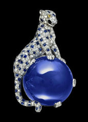 Cartier Panthere sapphire and diamond brooch